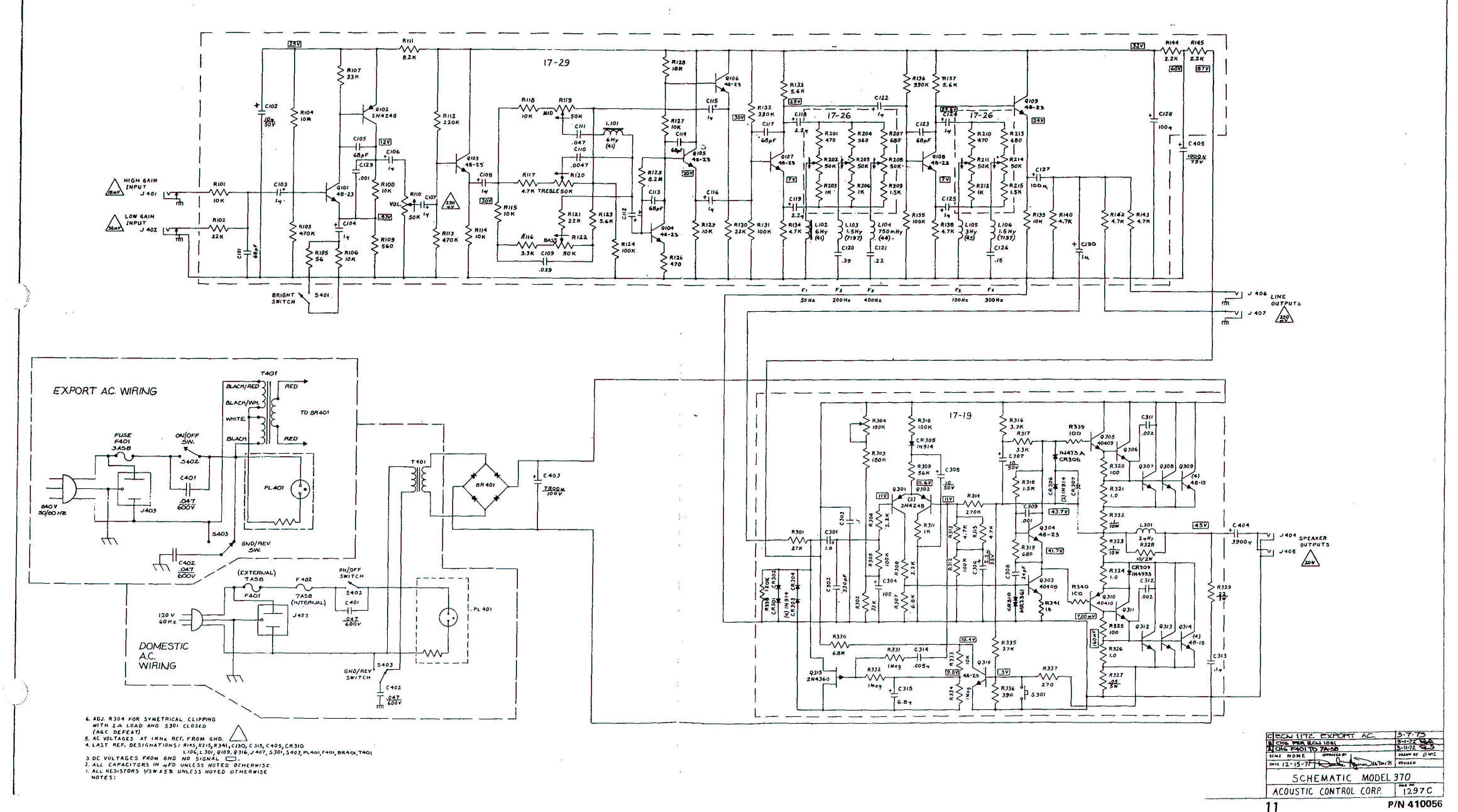 acoustic amp 160 schematic acoustic 370 iration audio