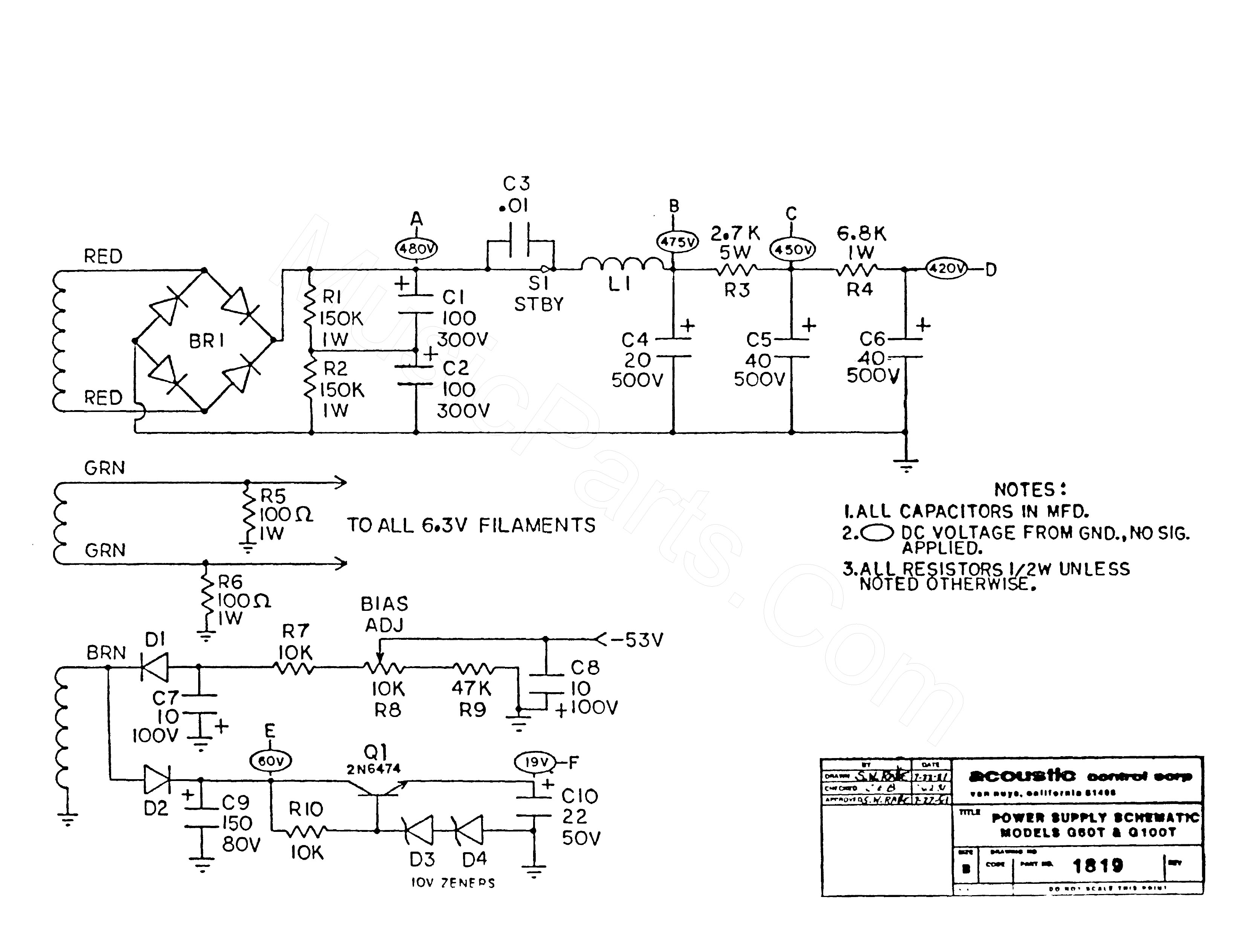 Acoustic Amp 160 Schematic - Today Diagram Database