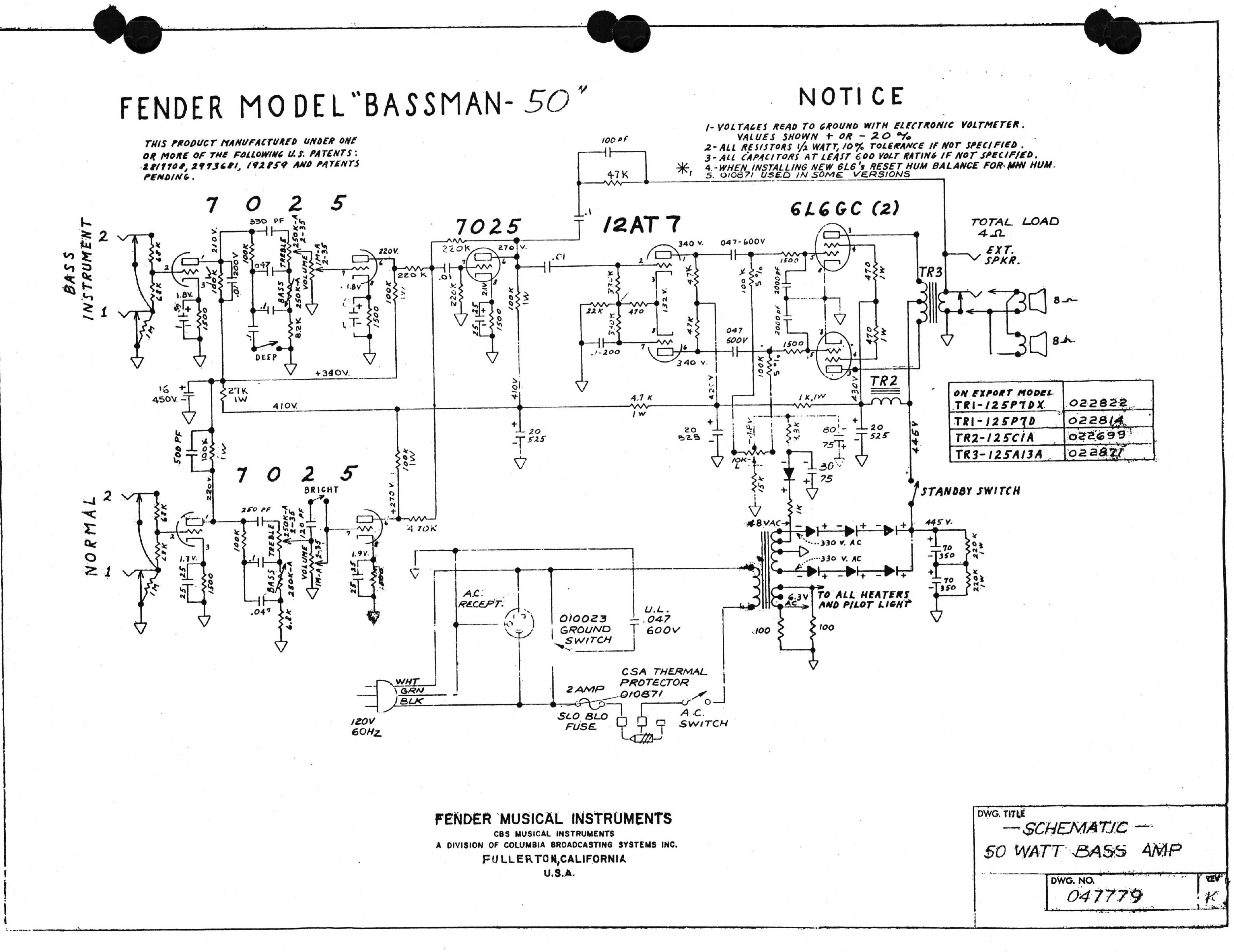 Bassman Bass Amp Schematic Automotive Wiring Diagram Fender 50 Iration Audio Preamp Mini Schematics