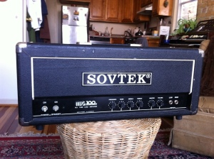 Sovtek MIG100-U. Sounds very raw and gnarly. I always like amps that have enough balls to potentially start sounding bad. This one has the gain ability to go 'too far.' Amp was blowing fuses because of a shorted power tube.