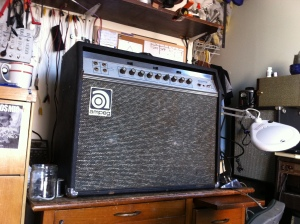Tite times with the rarest Gemini, the G-20. You know it's old when it's a BLUE LINE version, rather than the 70's Ampegs which have the black screen printed front panel. Caps and transformers date this old Ampeg to 1968. It was running on GE power tubes and some Amperex 12AX7s. Not sure if these tubes are original but they are from the 70's at least! Some 12AX7s were noisy and were replaced. The power tubes were still running but very unevenly matched, so they were replaced as well. This amp has probably the best tremolo I've ever heard. Pair it with the reverb (which sounds nicer than the reverb on my V4) and it's a killer combo. Unlike the G-12 and G-15 which have one 12