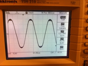 After repair doing 33.7V into 4 ohms for 284W at the onset of clipping.