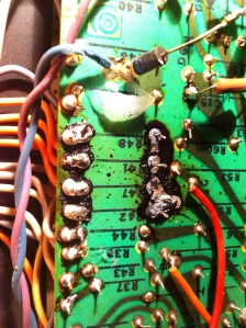 Rugged VT-22 survived the crash with only 1 broken preamp tube and one missing. Worst problem the amp had was that EL34s were installed but it wasn't done right.  Original V4/VT-22 power tubes are 7027s but the socket is really wired for a 6L6. 6550s and KT-88s can work too but it can be tricky. V4/VT-22 wiring leaves pin 1 on the tube socket open because there is no connection on pin 1 for 6L6/6550/KT-88 (7027 has pin 1 tied to pin 4, screen grid), but an EL34 has a suppressor grid on pin 1 which must be tied to ground. An EL34, like the 6L6/6550/etc, is a pentode and with the suppressor grid left floating it is only operating in tetrode mode.  The amp had toasted screen grid resistors and would only put out 75W at clipping. Too much current flowing in the screen. 1K screen grid resistors were replaced with 1.5K/5W and pin 1 was tied to pin 8 (ground) and the amp put out 105W as it should. Great job and thank you, suppressor grids, for re-routing that secondary emission away from the screen and back towards the anode.