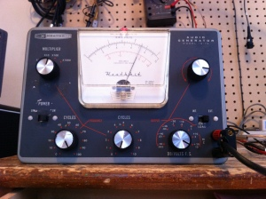 This is a Heathkit IG-72 tube audio generator. It can do sine waves only. I also only has a handful of parts so it's easy enough to service. The radio museum site has it listed here, in production from 1962 up until about 1977 -- http://www.radiomuseum.org/r/heath_audio_generator_ig_72_ig7.html