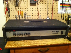 Early version of the Sunn Concert Bass. Seems like these earlier ones with the silver panel were 1972-74 and the red knobs started appearing in 1975. This amp is actually very similar to the red knob version in the preamp and output section but the power supply is totally different. Red knob version has a single secondary winding meaning there is only one voltage out from the power transformer and successive voltages are stepped down with dropping resistors and then tapped off the power supply. The early version actually has three power transformer secondaries each supplying different voltages to different parts of the amp. Each supply has a rectifier so it is kind of a triple rectifier LOL. Anyway in this case the rectifier for the preamp supply shorted and amp would continually trip its circuit breaker.