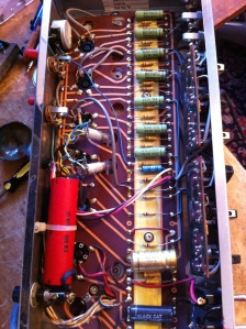 As far as I can tell this B-15N has never been worked on. It looks to be all original and even all the solder connections look untouched. Some of the caps in the preamp are made by Ducati??? Is this the same Ducati that makes motorcycles? People always want to sell vintage
