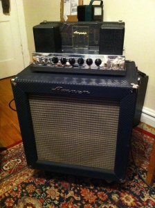 Ampeg B-15N from 1966 or 1967. The holy grail for recording studios. This one was in storage for 10+ years. When the owner brought it out to sell it it kept blowing fuses, which happens a lot with amps that sit for years and years without being turned on. Usually it is because of capacitors in the power supply. The caps are filled with a liquid electrolyte; when the amp sits for years without being turned on the electrolyte dries out and the cap short circuits when presented with hundreds of volts again.