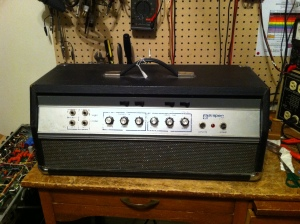 Cool old Ampeg B-25. It is the