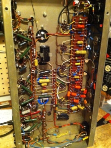 Here is a picture of another Mark IV Sound City 120 and I'm including it because of its better lighting but also because the preamp tubes go from top to bottom of the image V1, V2, V3, V5, V4. Yes, the last two tubes are out of order.   If you are getting strange voltage measurements in the V4 and V5 position this is why. Check to see which tube socket couples to the output section via the .047uF coupling caps. After googling chassis shots of Sound City 120s I did find some more that were wired this way, so I know this is not the only one. Big trap for young players.