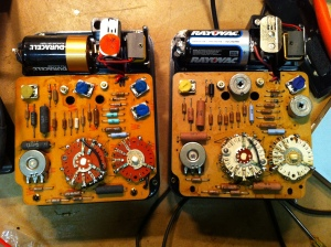 7P on the left and 7M on the right and as you might expect they are not much different. The meter on the left I received working and basically accurate, but the meter on the right needed a little work. The battery terminals were corroded. These need to make good contact with the batteries or the resistance readings will be off. You have to either clean them or hardwire the batteries. It was also out of cal. Not much of a hassle though since these meters have trimpots to adjust the calibration.