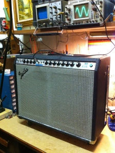 Nice silver face twin reverb that has the master volume. It is the 100W version not the one with the ultralinear output transformer that is 135W. The amp has master volume so the idea is you can get distortion out of it. The master volume works for both channels but the 2nd channel has more gain so you can try to get a more aggressive tone.