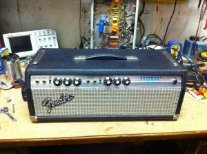 Silverface Bassman 50 from 1974 I believe. Same era amp as the Twin Reverb in the previous post. This amp has a slightly different phase inverter design compared to the earlier era Bassmans. There are a few other variations I'm sure but I'm not all that familiar with them.