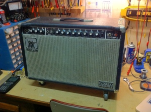 Got to be one of the smallest, loudest amps available. Actually it's not available because the reissues coming out now do not reproduce the 2x10 version.   It does just barely under 120W at clipping. Tremolo sounds amazing, especially when you go past 5 in speed.  Wonder if the new reissues HD130s are the same amp. The plate voltage in this is among the highest I've ever encountered, about 720V or so, so I kind of doubt they would reissue that kind of high voltage. But who knows.