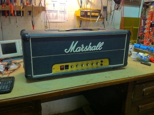 Marshall JMP. 100W version with 6550s and master volume. I think this is the most preferred rock amp that preceded the higher gain JCM800. It is really fun to play lead guitar on. This one is from 1979.