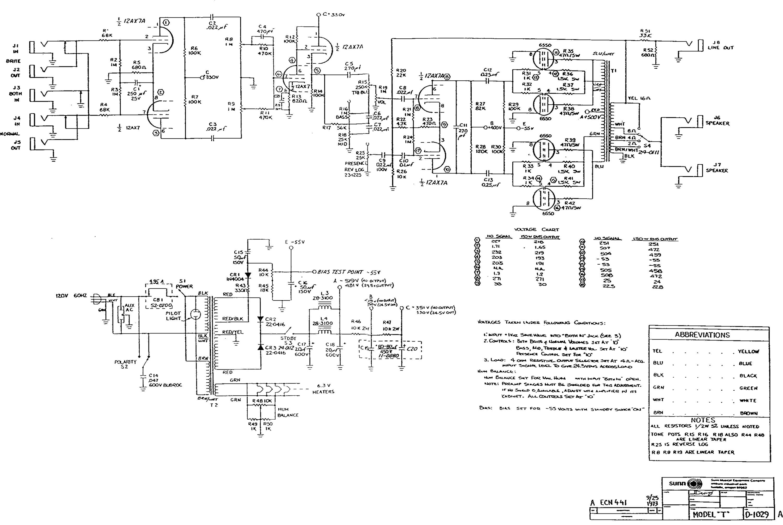 Sunn Model T schematic