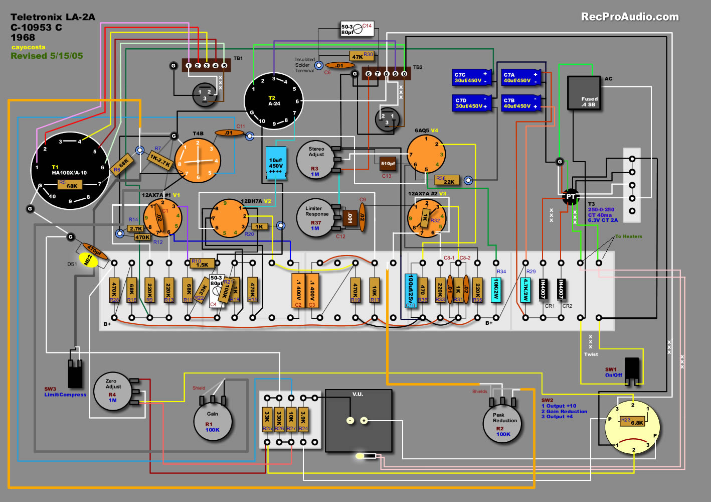 Teletronix La2a Leveling Amplifier Iration Audio Dean Guitar Wiring Diagram Free Picture Schematic Layout Look At The Green Wire Going From Fuse To Ground How Is