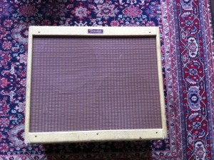 Fender Blues Deville 2x12. The volume knob is linear taper so it seems like this amp is really loud because the whole range of volume resides in about the 1-4 setting. You can change this to audio taper to give it more use-able range.