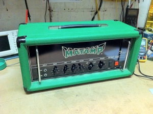 Hard to know much about these Matamps since there's no schematics available and there's also so much variation between builds. From what I could gather and test this amp is capable of about 120W max with four EL34s. It starts to break up around 75W. The bass and mid controls have a minimal effect. It was biased extremely cold and sounded really grainy and weak, but when put back in a normal region it could get really fuzzy and blown out sounding.