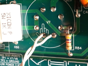 A doube fuck you. The FU gesture + that solder connection next to it is just hanging by a thread, how rude.