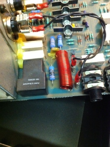 Main problem was the inductor at the output was physically damaged because of a drop, and then electronic damaged ensued from intermittent connections. The red wire wound inductor is in parallel with the 10 ohm/2W resistor. They are in series with the output. In the image you can see the resistor is blackened -- it is burnt open. The inductor was broken loose from the PCB but still making contact. After a little use it rattled loose making an intermittent connection at the output. When the connection went in and out it fried the 10 ohm resistor and also burnt the PCB traces underneath. It's important to scrape all the charred remains off the PCB because it is now carbonized plastic and therefore can be conductive. Full schematic and parts list and all that here -- https://drive.google.com/folderview?id=0B01EXvY0__YYeTZWZnRBang4T1k&usp=sharing