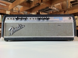 Fender Bassman in the drip edge fashion, with the metal grill going around the  silver grill cloth. From around the 32nd week of 1967.