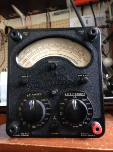 Yay another incredible relic from the past, made in UK sometime between 1956 and 1964 -- AVO Model 8 MK2. AVO stands for Ammeter-Voltmeter-Ohmeter. AC and DC ranges operate on opposite knobs. When a knob is set for AC or DC the meter is connected and working. If neither knobs are set to either AC or DC the meter is disconnected, protecting you from damaging the meter or getting inaccurate measurements by having it on the wrong setting. Has individual knobs to zero out the meter on the resistance setting. I have owned Simpson 260s and Triplett 630s, usually called
