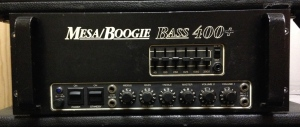 Mesa Boogie Bass 400+. Pretty beastly amp with 12 6L6GCs in the output section, doing about 270W. There is another version of this amp with a 6.8K EQ slider, this one doesn't have it. Old school.