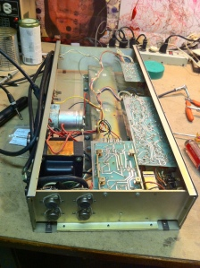 Preamp and reverb and tremolo is on the PCBs on the right and the middle PCB in the foreground is the input and driver stage of the output section. Output transistors are mounted on the chassis for heat sinking. They are 2N3055s in typical fashion. From the driver stage of the output section the signal is transformer coupled to the bases of the output transistors, kind of like Sunn Concert series. Since this is a single supply amp and it runs on a single +75V from the power supply, a big 1000uF/50V cap is used at the output to isolate DC from the output section from the speaker. The Acoustic 134, 134, and 150 schematics and user manuals are all merged into one document, 36 pages, literally telling you everything. What a great manual -- https://drive.google.com/file/d/0B01EXvY0__YYVnU1QVRqbktkUUk/view?usp=sharing