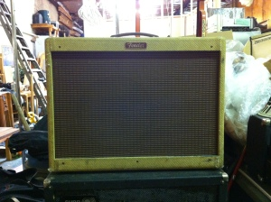 Fender Blues Deluxe reissue from mid 90s. My chassis shot was all blurry but it's ok these amps are all the same inside, Blues Deville, Blues Deluxe, Hot Rod Deville, etc. The 9-pin Fender style input jacks are expensive, so hopefully they are not broken. Touch up the solder on the tube sockets for reliability. This one does not have a bias pot for some reason. A lot of the other similar models do. You either have to use tubes that bias nice by their current draw, or adjust the resistor in the bias supply or install a little trimpot.