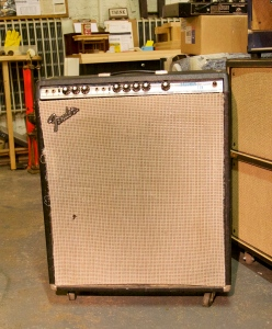 Another Bassman variation, the Bassman Ten. Sweet little 4x10 combo with both channels blend-able because they are in phase. Most of the other Fenders have channels 1 and 2 out of phase because of the added reverb stage of channel 2. This amp is really clean, even when cranked.