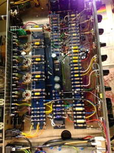 BLUE Matamp on the bench made in UK by Radio Craft. These amps are pretty nice builds with their PCB turret board construction. Seems rugged, and you can tell there is time taken into making something special. Could easily just dump it on a huge PCB and eliminate much of the hand wiring and soldering but they chose not to do this, great. This layout is very similar to the Blue Matamp I had in a previous post, if you would like to peruse for more in depth info.