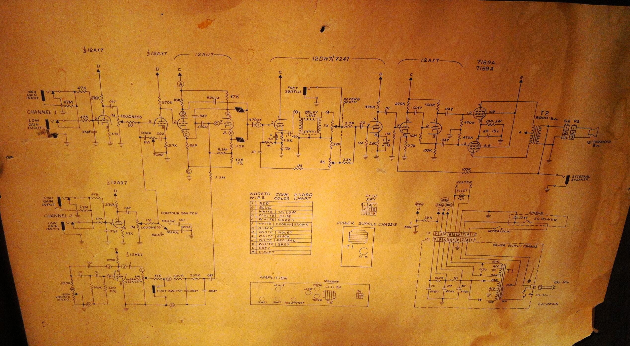 on magnatone amp schematic