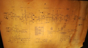 Magnatone M8 schematic. Like a lot of old gear the schematic is pasted inside the chassis so a service person can reference it one day. There is a site with a wealth of knowledge committed to Magnatone amps. More info and better schematic for the Magnatone M8 here.