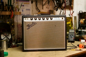 Silverface Princeton Reverb with the drip-edge style grill. This thing is all original except the speaker which has been replaced with a Kendrick 10