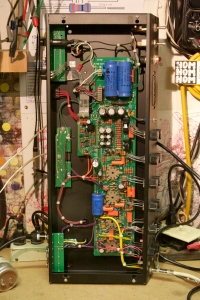 Pretty neat and tidy like they usually are. Always nice when the pots are not PCB mounted. This amp worked great other than an intermittent connection at the AC cord, causing it to cut out or sometimes not even turn on. Check out the full schematic for Mesa Boogie F-50/F-100 available as PDF and get into it.