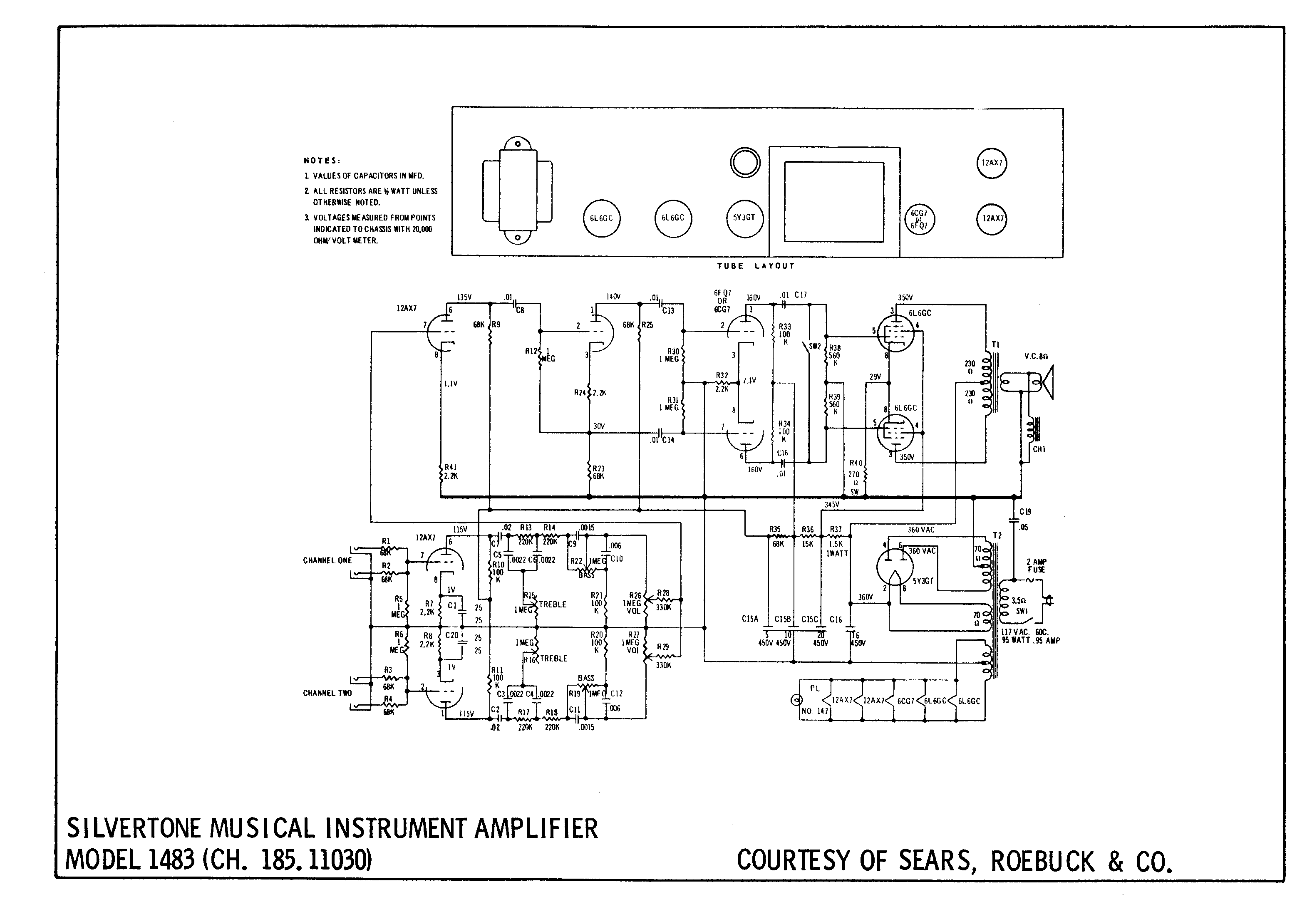 sears silvertone 1483 iration audio Jbl Wiring Diagram silvertone 1483 schematic look how it lists the resistance of the transformer windings i would give this amp an a at being cheap, simple and good Pressure Switch Wiring Diagram